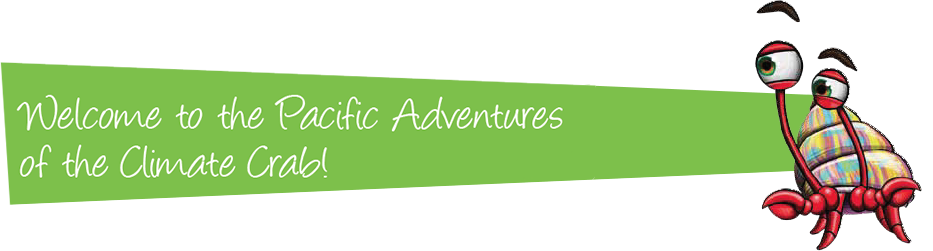 Title banner with Welcome to the Pacific Adventures of the Climate Crab!