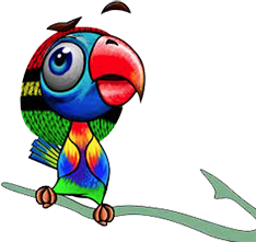 Cartoon of very colourful parrot.