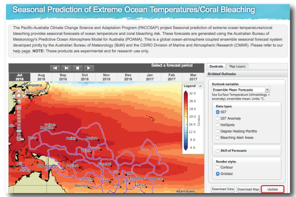 Screenshot of Seasonal Prediction of Extreme Ocean Temperatures and Coral Bleaching Tool