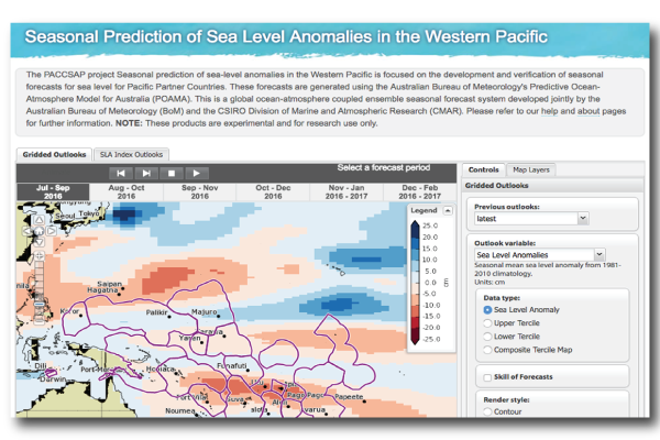 Screenshot of seasonal sea level anomalies tool