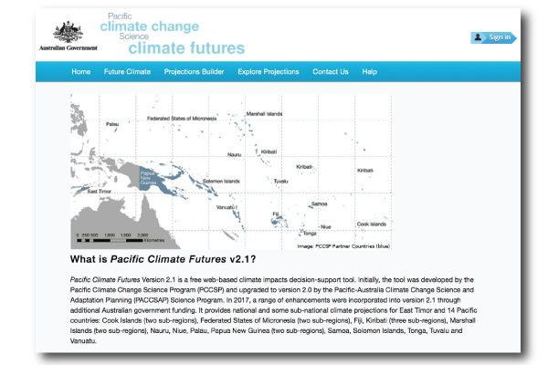 Screenshot of Pacific Climate Futures landing page